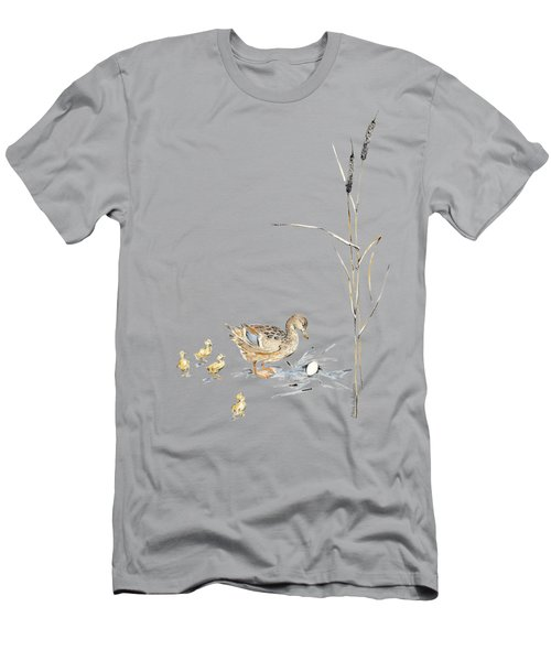 The Ugly Duckling - Mother Duck, Large Egg, And Four Ducklings - Illustration For Classic Fairy Tale Men's T-Shirt (Slim Fit) by Elena Abdulaeva