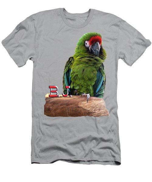B. J., The Military Macaw Men's T-Shirt (Slim Fit) by Zazu's House Parrot Sanctuary