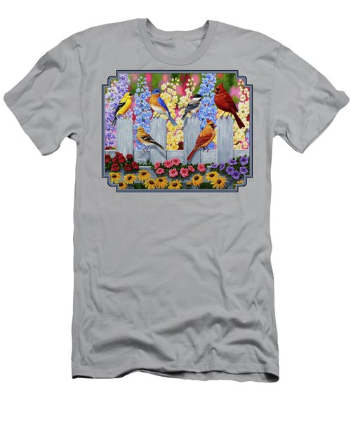 Bird Painting - Spring Garden Party Men's T-Shirt (Slim Fit) by Crista Forest