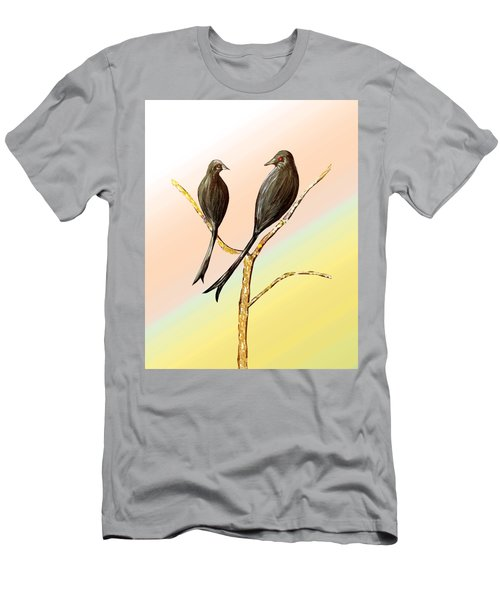 Black Drongos B Men's T-Shirt (Slim Fit) by Thecla Correya