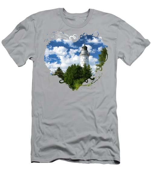 Cana Island Lighthouse Cloudscape In Door County Men's T-Shirt (Slim Fit) by Christopher Arndt