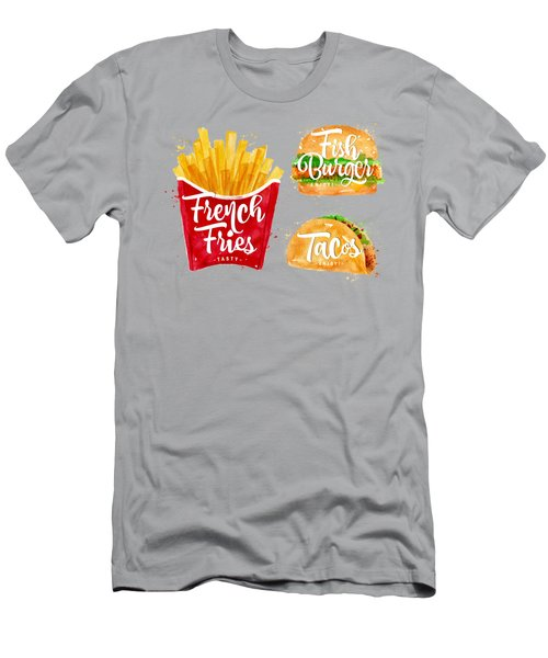 Color French Fries Men's T-Shirt (Slim Fit) by Aloke Design