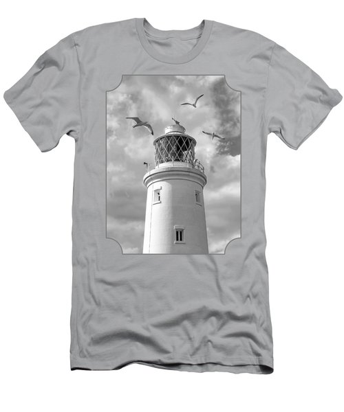 Fly Past - Seagulls Round Southwold Lighthouse In Black And White Men's T-Shirt (Slim Fit) by Gill Billington