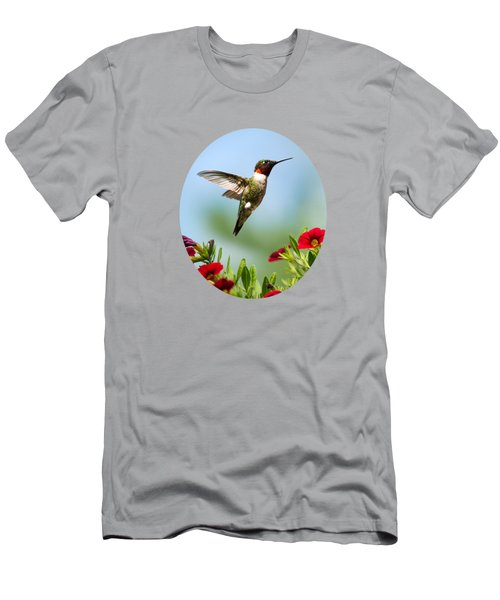 Hummingbird Frolic With Flowers Men's T-Shirt (Slim Fit) by Christina Rollo