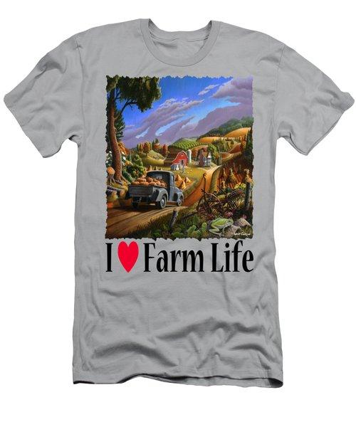 I Love Farm Life - Taking Pumpkins To Market - Appalachian Farm Landscape Men's T-Shirt (Slim Fit) by Walt Curlee