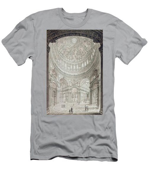 Interior Of Saint Pauls Cathedral Men's T-Shirt (Slim Fit) by John Coney