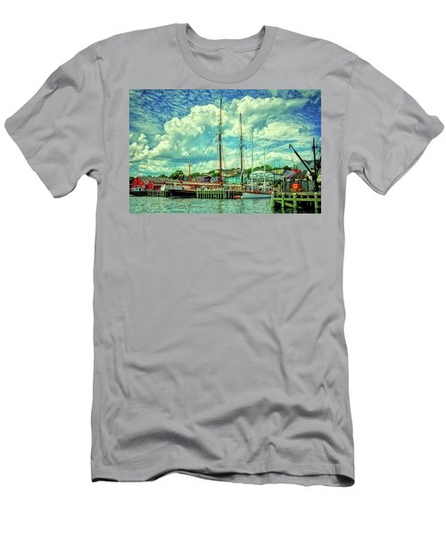 Men's T-Shirt (Slim Fit) featuring the photograph Lunenburg Harbor by Rodney Campbell