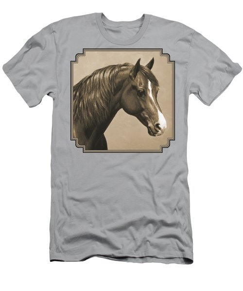 Morgan Horse Painting In Sepia Men's T-Shirt (Slim Fit) by Crista Forest