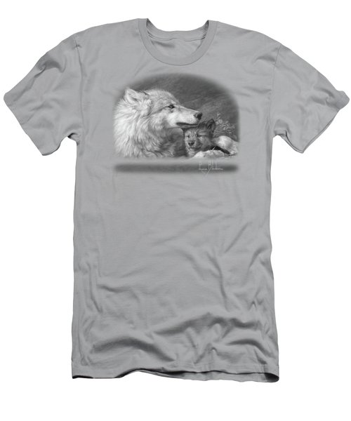 Mother's Love - Black And White Men's T-Shirt (Slim Fit) by Lucie Bilodeau