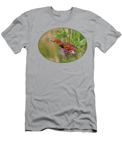 Peacock Butterfly On Thistle Men's T-Shirt (Slim Fit) by Gill Billington