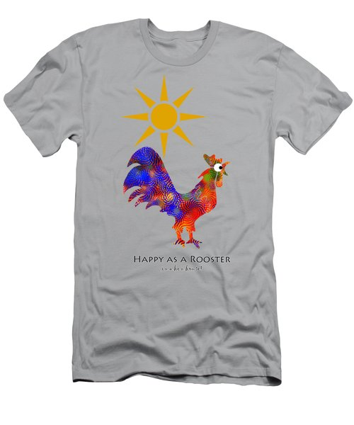 Rooster Pattern Aged Men's T-Shirt (Slim Fit) by Christina Rollo