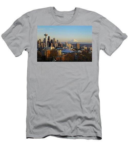 Seattle Cityscape Men's T-Shirt (Slim Fit) by Greg Vaughn - Printscapes