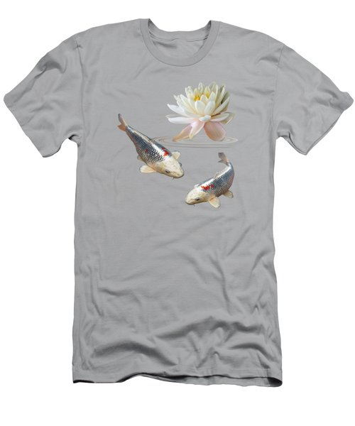 Silver And Red Koi With Water Lily Men's T-Shirt (Slim Fit) by Gill Billington