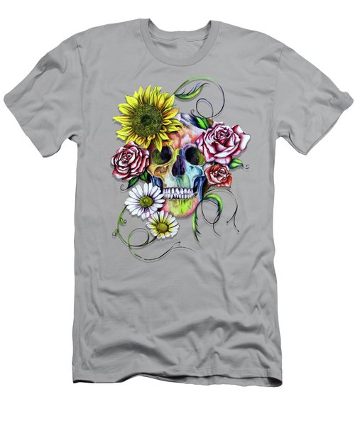 Skull And Flowers Men's T-Shirt (Slim Fit) by Isabel Salvador