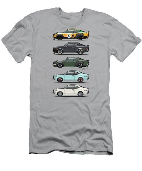Stack Of Mazda Savanna Gt Rx-3 Coupes Men's T-Shirt (Slim Fit) by Monkey Crisis On Mars