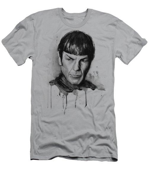Star Trek Spock Portrait Sci-fi Art Men's T-Shirt (Slim Fit) by Olga Shvartsur