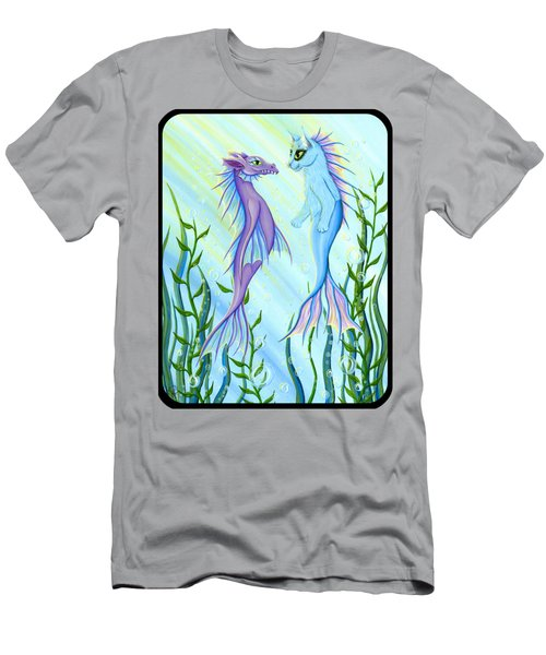 Sunrise Swim - Sea Dragon Mermaid Cat Men's T-Shirt (Slim Fit) by Carrie Hawks