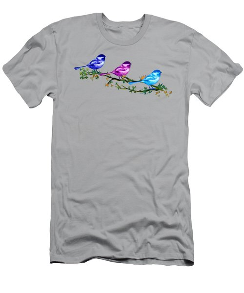 Three Chickadees Men's T-Shirt (Slim Fit) by Teresa Ascone