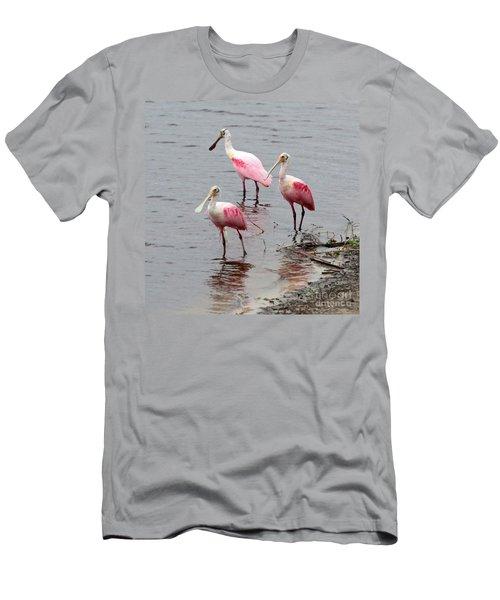 Three Roseate Spoonbills Square Men's T-Shirt (Slim Fit) by Carol Groenen