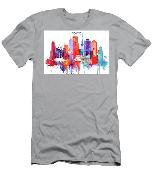 Tokyo Watercolor Men's T-Shirt (Slim Fit) by Dim Dom