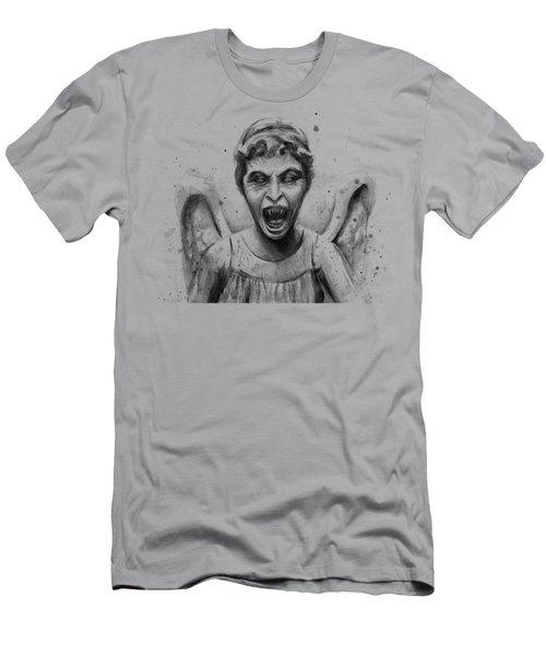 Weeping Angel Watercolor - Don't Blink Men's T-Shirt (Slim Fit) by Olga Shvartsur