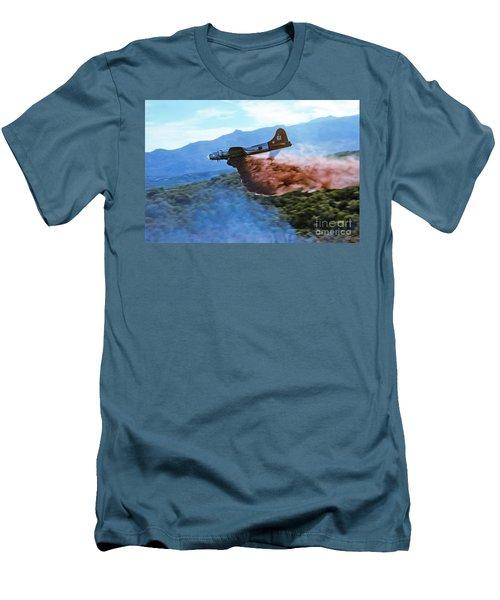 Men's T-Shirt (Slim Fit) featuring the photograph  B-17 Air Tanker Dropping Fire Retardant by Bill Gabbert