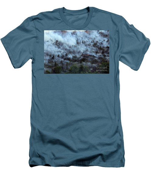 Men's T-Shirt (Slim Fit) featuring the photograph A Smoky Slope On White Draw Fire by Bill Gabbert