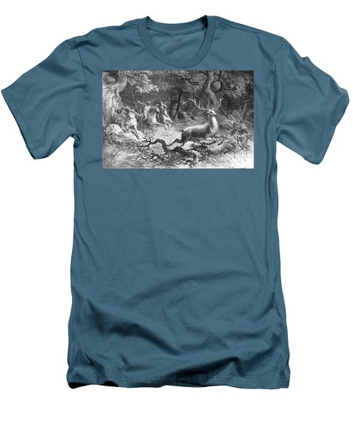 Men's T-Shirt (Slim Fit) featuring the photograph Bronze Age, Hunting Scene by British Library
