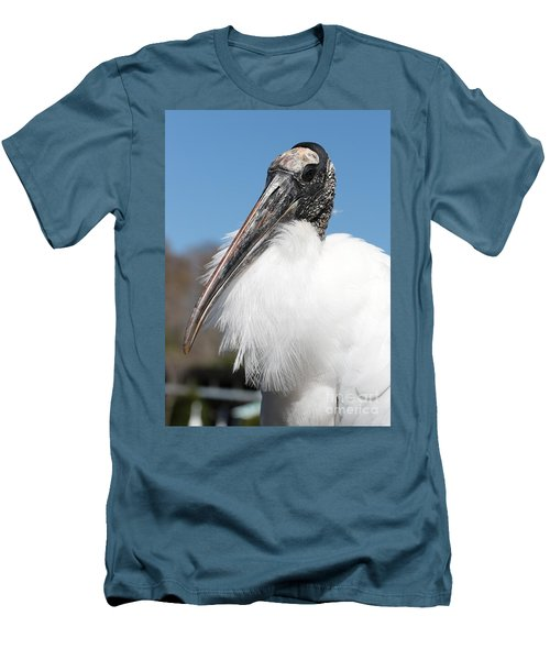 Fluffy Wood Stork Men's T-Shirt (Slim Fit) by Carol Groenen