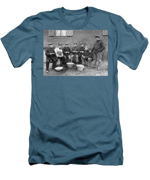 Germans Peeling Potatoes Men's T-Shirt (Slim Fit) by Underwood Archives
