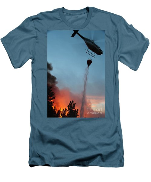 Men's T-Shirt (Slim Fit) featuring the photograph Helicopter Drops Water On White Draw Fire by Bill Gabbert
