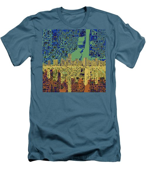 Miami Skyline Abstract 7 Men's T-Shirt (Slim Fit) by Bekim Art