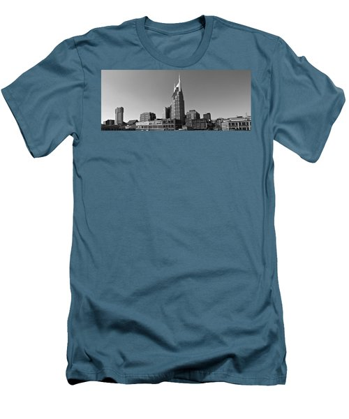 Nashville Tennessee Skyline Black And White Men's T-Shirt (Slim Fit) by Dan Sproul