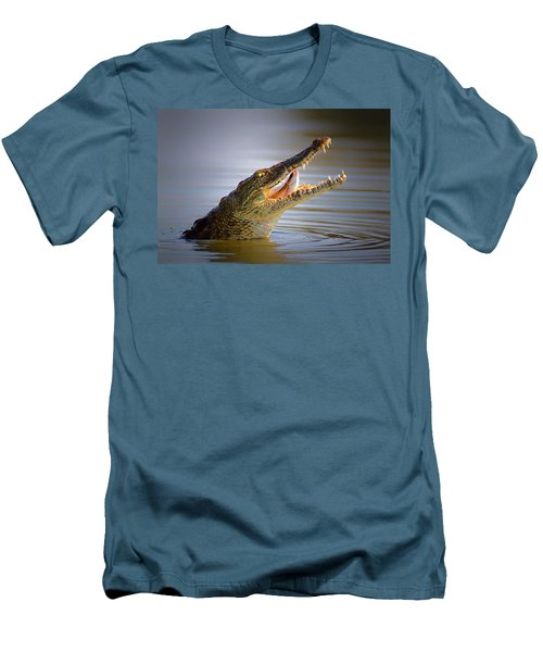Nile Crocodile Swollowing Fish Men's T-Shirt (Slim Fit) by Johan Swanepoel