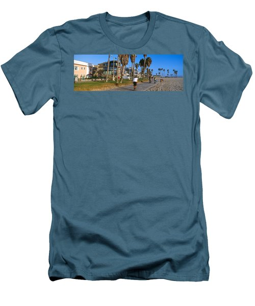 People Riding Bicycles Near A Beach Men's T-Shirt (Slim Fit) by Panoramic Images