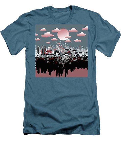 Philadelphia Skyline Abstract 6 Men's T-Shirt (Slim Fit) by Bekim Art