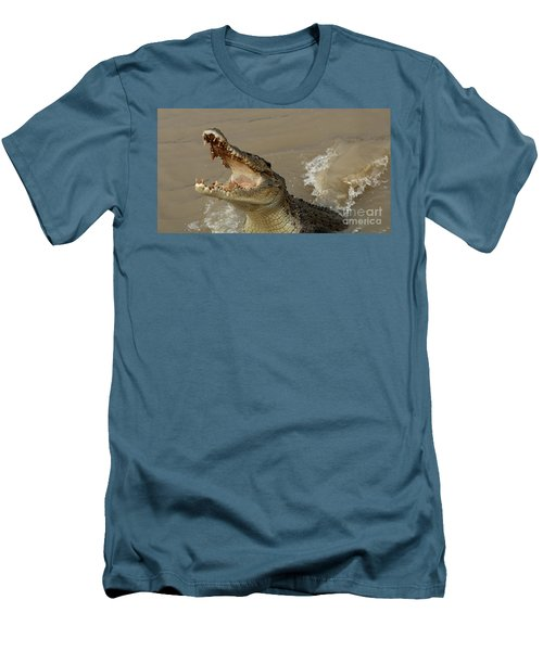 Salt Water Crocodile 2 Men's T-Shirt (Slim Fit) by Bob Christopher