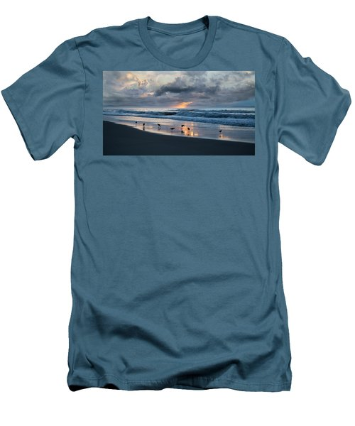 Sandpipers In Paradise Men's T-Shirt (Slim Fit) by Betsy Knapp
