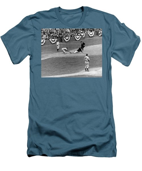 Spud Chandler Is Out At Third In The Second Game Of The 1941 Wor Men's T-Shirt (Slim Fit) by Underwood Archives