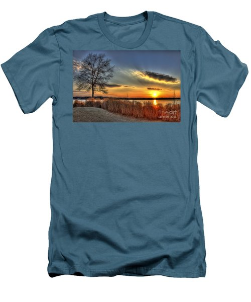 Sunset Sawgrass On Lake Oconee Men's T-Shirt (Slim Fit) by Reid Callaway