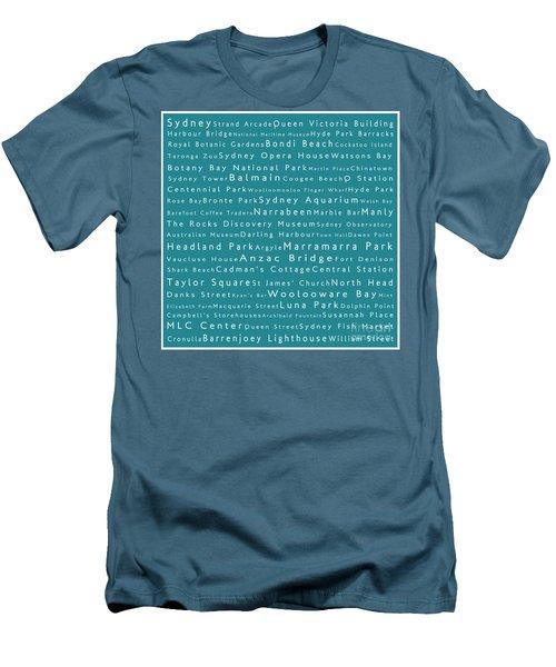 Sydney In Words Teal Men's T-Shirt (Slim Fit) by Sabine Jacobs