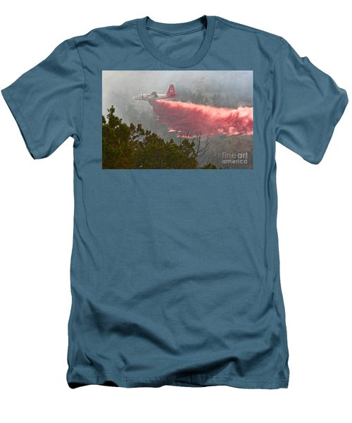 Men's T-Shirt (Slim Fit) featuring the photograph Tanker 07 On Whoopup Fire by Bill Gabbert