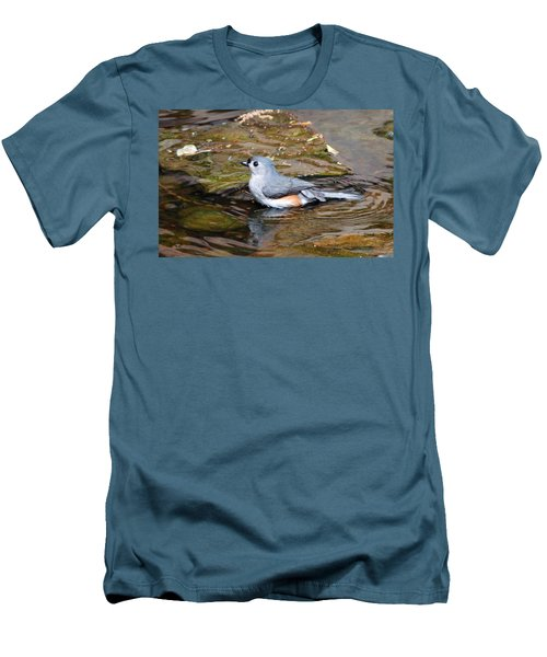 Tufted Titmouse In Pond II Men's T-Shirt (Slim Fit) by Sandy Keeton