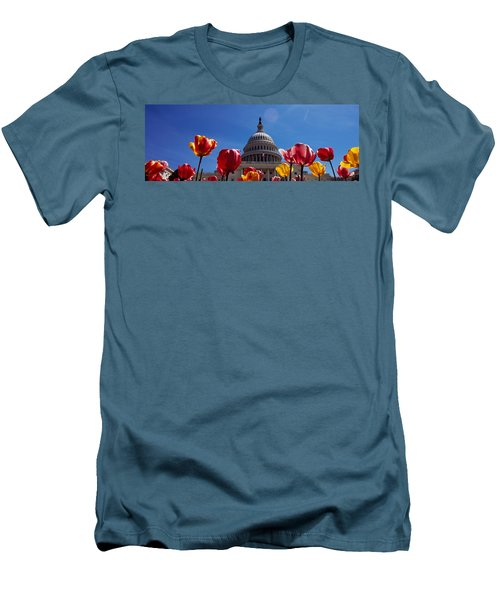 Tulips With A Government Building Men's T-Shirt (Slim Fit) by Panoramic Images