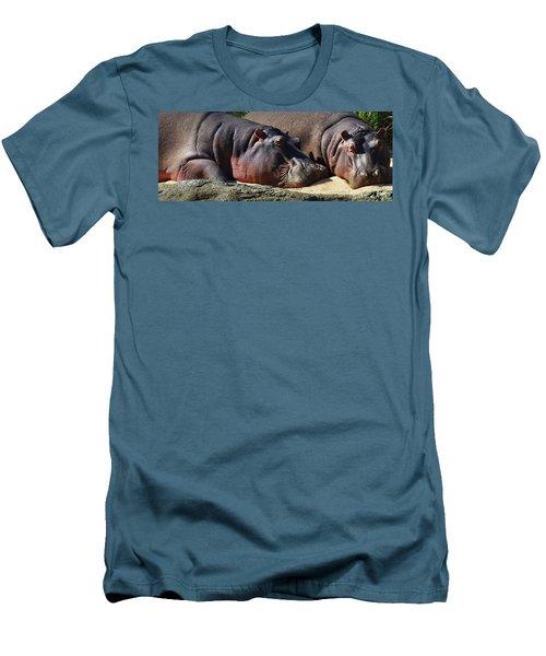 Two Hippos Sleeping On Riverbank Men's T-Shirt (Slim Fit) by Johan Swanepoel