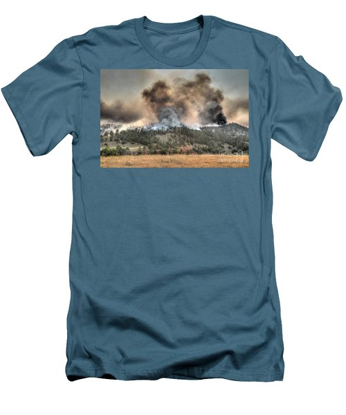 Men's T-Shirt (Slim Fit) featuring the photograph Two Smoke Columns White Draw Fire by Bill Gabbert