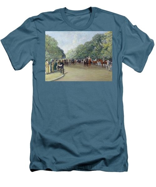View Of Hyde Park With Figures On Rotten Row  Men's T-Shirt (Slim Fit) by Albert Jnr Ludovici