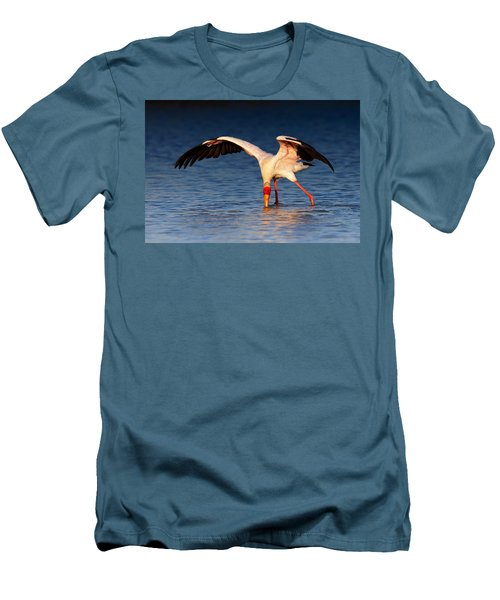 Yellow-billed Stork Hunting For Food Men's T-Shirt (Slim Fit) by Johan Swanepoel