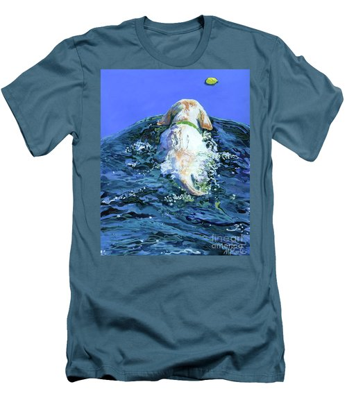 Yellow Lab  Blue Wake Men's T-Shirt (Slim Fit) by Molly Poole