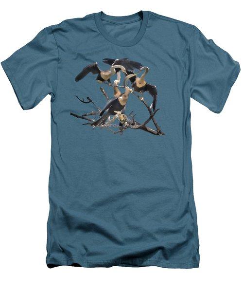 Anhinga Feeding Time Transparency Men's T-Shirt (Slim Fit) by Richard Goldman